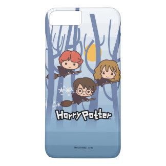 Cartoon Harry, Ron, & Hermione Flying In Woods iPhone 7 Plus Case