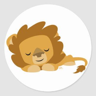 Sleeping Cartoon Lion round sticker
