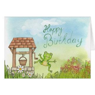This Frog wishes a Happy Birthday Greeting Card